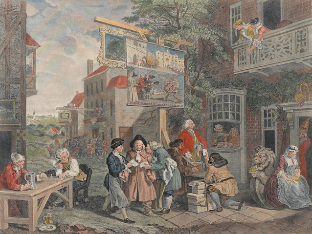 'Canvassing for Votes', 'The Polling'; 'Chairing the Members' by William Hogarth, Aviling, Le Sage and Grignion (3)
