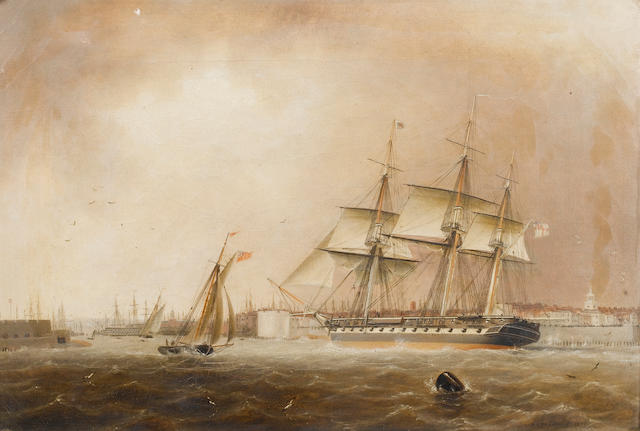 Robert Strickland Thomas (British, 1787-1853) 'H. M. Ship Raleigh' entering Portsmouth Harbour 31.7 x 46.4cm. (12 1/2 x 18 1/4in.)