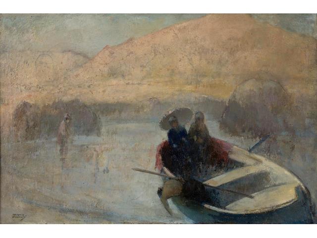 Theofrastos Triantafyllidis (Greek, 1881-1955) Ladies in a rowing boat 47.5 x 73 cm.