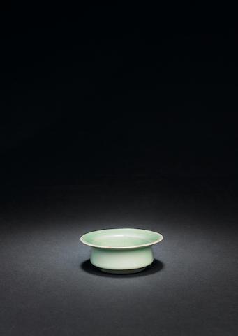 A rare Longquan green-glazed circular brushwasher Southern Song Dynasty