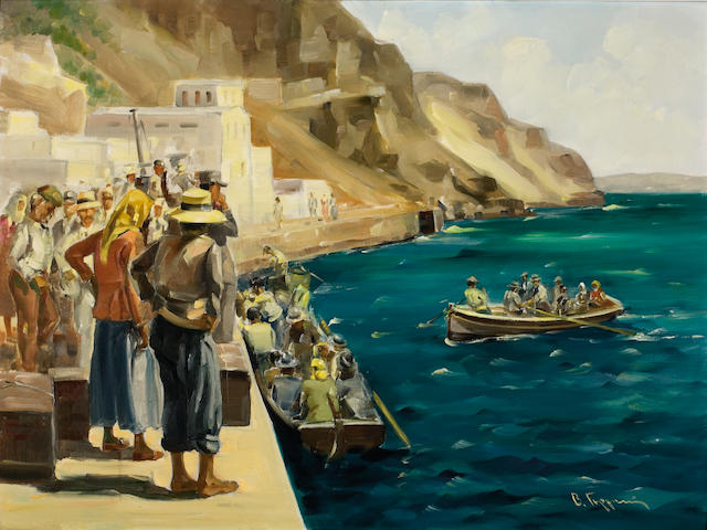 Vassilis Germenis (Greek, 1896-1966) At the old port of Fira, Santorini 60 x 80 cm.