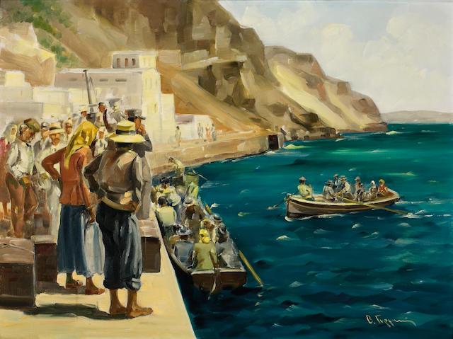 Vassilis Germenis (Greek, 1896-1966) At the old port of Fira, Santorini 60 x 80 cm.