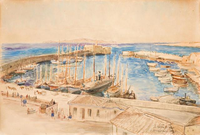Julius (II) Wentscher (German, 1881-1961) View of the harbour of Heraklion, Crete 35 x 52 cm.