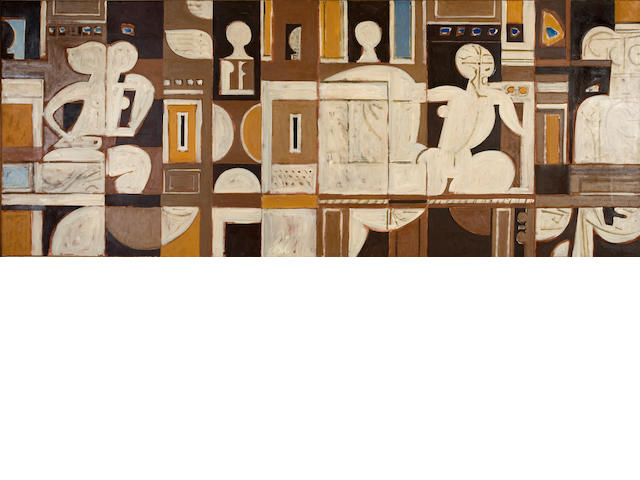 Yiannis Moralis (Greek, b.1916) Composition 90 x 220 cm.