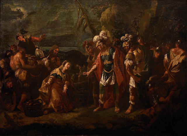 Attributed to Panayotis Doxaras (Greek, 1662-1729) Scene inspired by the Battles of Alexander the Great 92 x 127 cm.