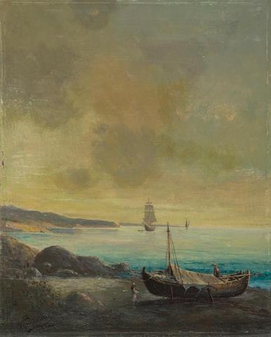 Ioannis Poulakas (Greek, 1864-1942) Attica shores 27.5 x 22 cm.