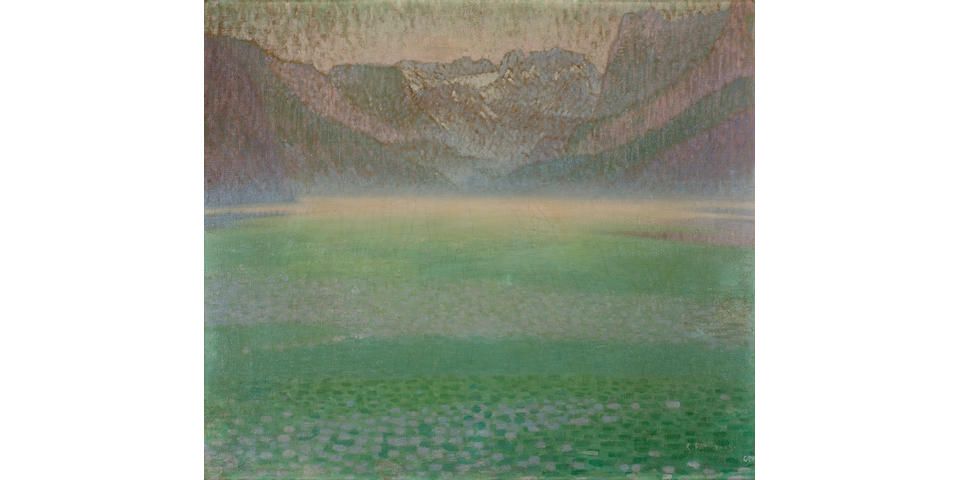 Constantinos Parthenis (Greek, 1878-1967) Misty lake 62.5 x 71.5 cm.