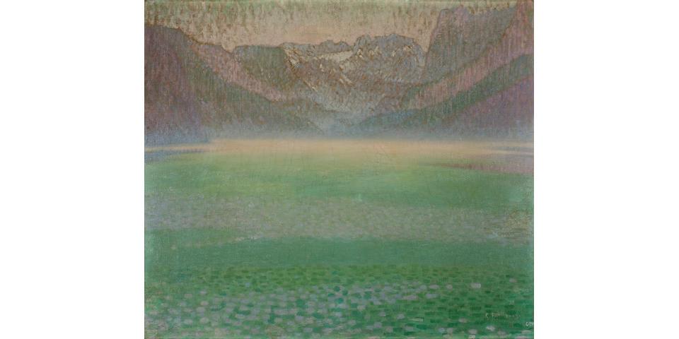 Constantinos Parthenis (Greek, 1878-1967) Misty lake 62.5 x 71.5 cm.