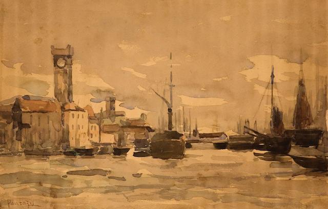 Periclès Pantazis (Greek, 1849/50-1884) Bassin du commerce, Ostende 22 x 35 cm.