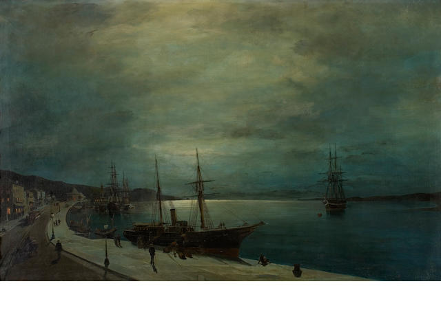 Constantinos Volanakis (Greek, 1837-1907) Moonlit harbour 54 x 85 cm.
