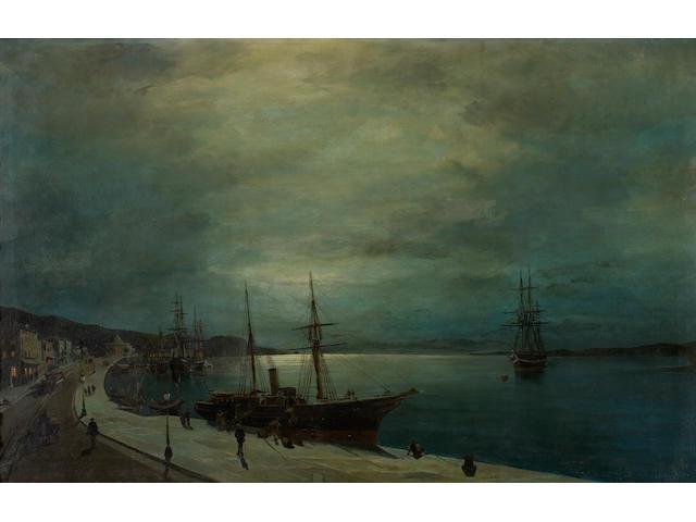 Constantinos Volanakis (Greek, 1837-1907) Moonlit harbour 54 x 85 cm.