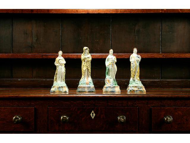 A set of four Pratt Ware figures emblematic of the Seasons, circa 1790