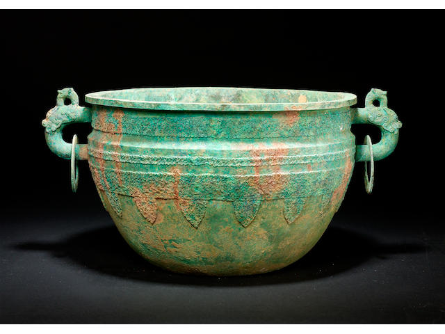 A large archaic bronze basin, jian Warring States Period