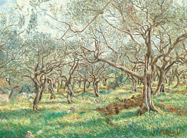 M. Kheir (20th Century) Orchard scene