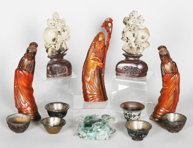 A Japanese cloisonne vase, three carved horn figures, a pair of carved soapstone vases, a carved jade bowl and five teabowls 19th century