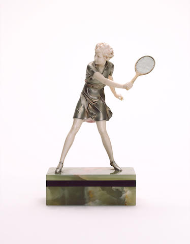 Ferdinand Preiss 'Girl Tennis Player' a Cold-Painted Bronze and Carved Ivory Figure, circa 1925