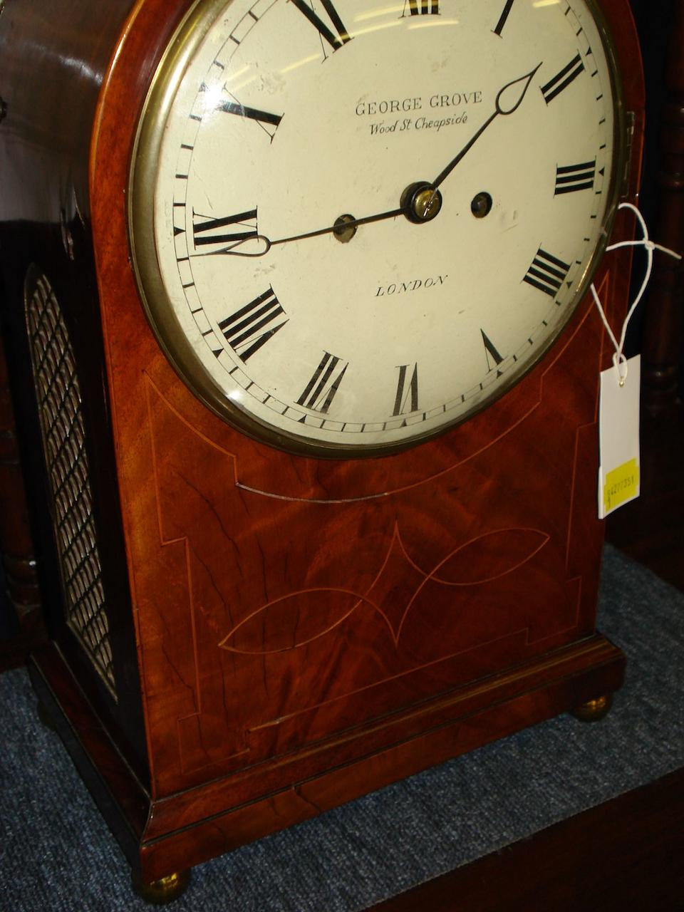 A 19th Century mahogany cased bracket clock George Grove, Wood Street, Cheapside, London