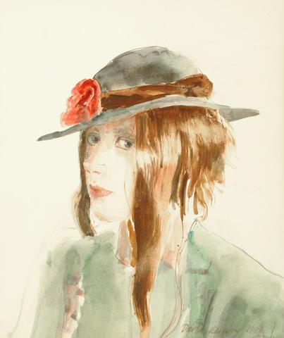 David Remfry (British, b.1942) Girl wearing a hat 30.5 x 26 cm. (12 x 10 1/4 in.)
