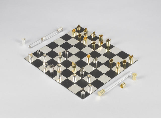 A cased silver and silver-gilt Fischer-Spassky commemorative chess set, by Cy Enfield, London 1972,