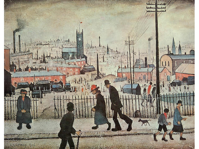 Laurence Stephen Lowry R.A. (British, 1887-1976) 'View of a Town' signed in pencil with the blindstamp for the Fine Art Trade Guild, from an edition of 850, a colour reproduction.