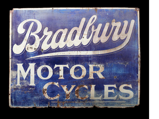 A rare Bradbury Motor Cycles sign.