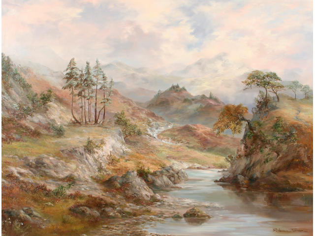 """Prudence Turner (British, 1930) """"Near Crieff, Perthshire"""" - a view in the Scottish hills,"""