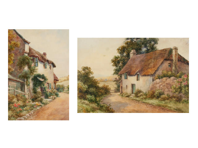 "Thomas Mortimer  ""A Dartmoor Cottage"", together with ""Near Branscombe"", a pair,"