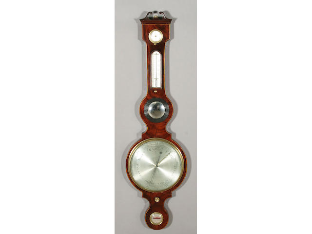 An early 19th century figured mahogany and double line edged five instrument 'shouldered' wheel barometer