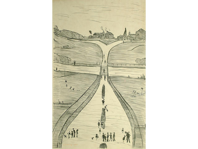 Laurence Stephen Lowry R.A. (British, 1887-1976) 'Village on a Hill' numbered 48 from an edition of 75.