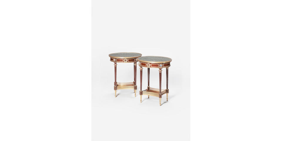 A fine pair of late 19th century French mahogany and gilt bronze mounted Occasional Tables by Henry