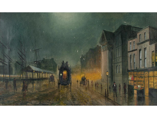Attributed to Walter Linsley Meegan (British, 1859-1944) 'Liverpool Docks', bears signature, Atkinson Grimshaw, and dated 1895,bears signature and dated verso,