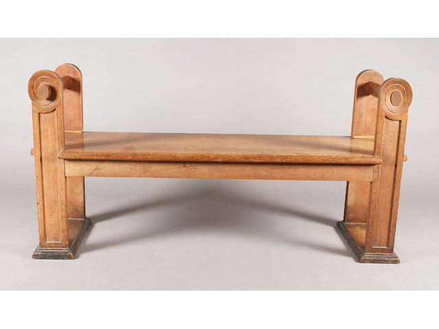 An oak hall or window seat, circa 1920