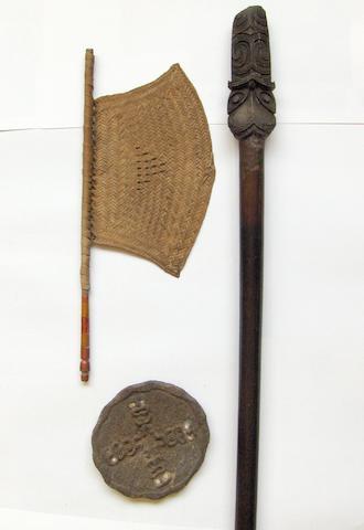 A Maori quarter-staff (Taiaha), a Maori bone disc and a fibre fan 3