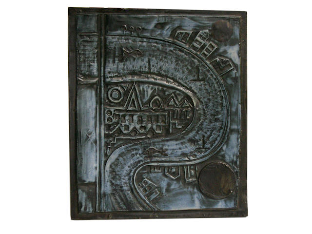 A Troika 'Thames' plaque by Benny Sirota