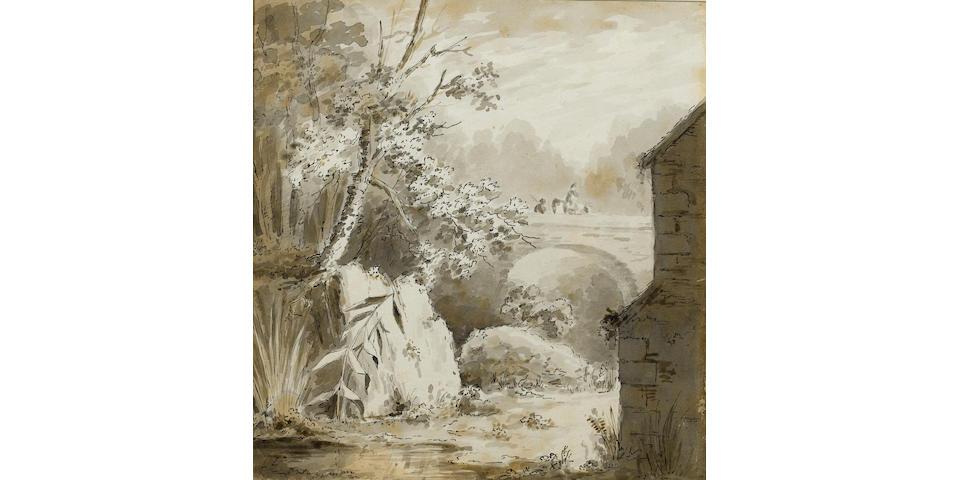 John Constable, R.A. (British, 1776-1837) A rider and companion crossing a bridge 22.7 x 21.2 cm. (8 7/8 x 8 3/8 in.)