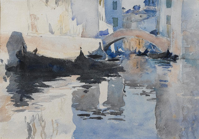 John Singer Sargent; View of Venice, watercolour, 24x35cm. For advice.