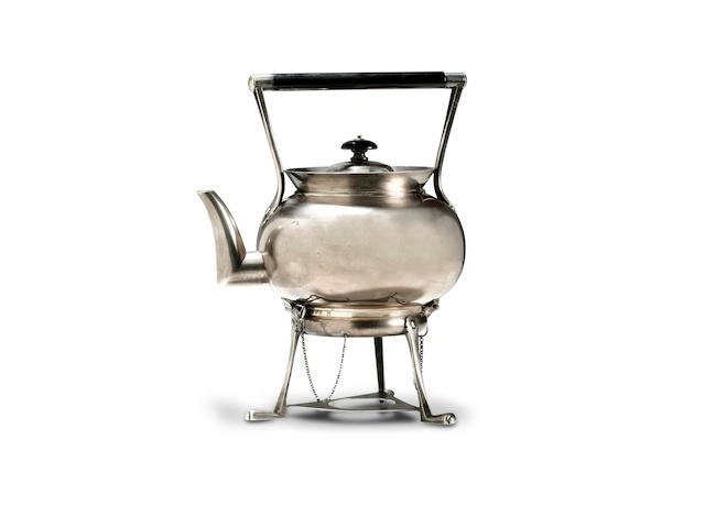 Dr Christopher Dresser for Hukin & Heath, 1878 An electroplated tea kettle on stand