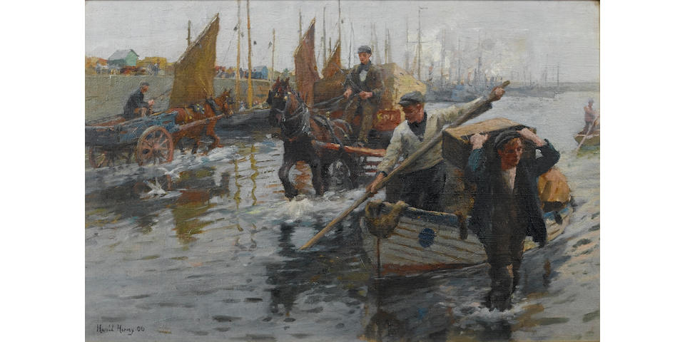 Harold  Harvey (1874-1921) Unloading the boats, Newlyn Harbour 30.5 x 46 cm. (12 x 18 in.)
