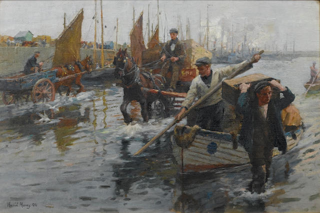 Harold Harvey (1874-1941) Unloading the boats, Newlyn Harbour 30.5 x 46 cm. (12 x 18 in.)