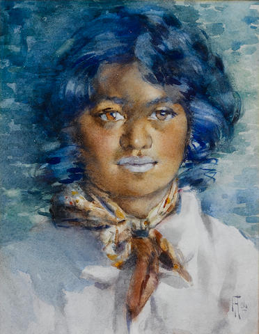 Frances Mary Hodgkins (New Zealander/British, 1869-1947) Portrait of a Maori girl 28 x 21.6 cm. (11