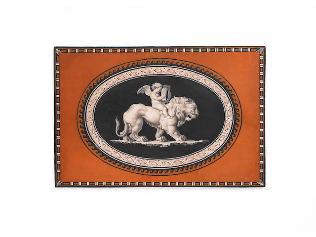 An important Wedgwood and Bentley 'encaustic' black basalt plaque circa 1770,