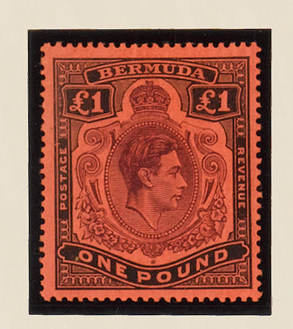 Bermuda: Perf 14: 1938-53 £1 purple and black on salmon, (third printing March 1943), fine mint single showing HPF 1b (shading omitted from top-right scroll), FF 1A III, scarce. (208)