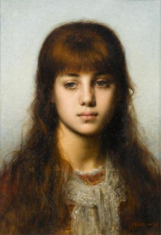 Alexei Alexeevich Harlamoff (Russian, 1840-1925) Study of a girl 44.5 x 32 cm. (17 1/2 x 12 1/2 in.)
