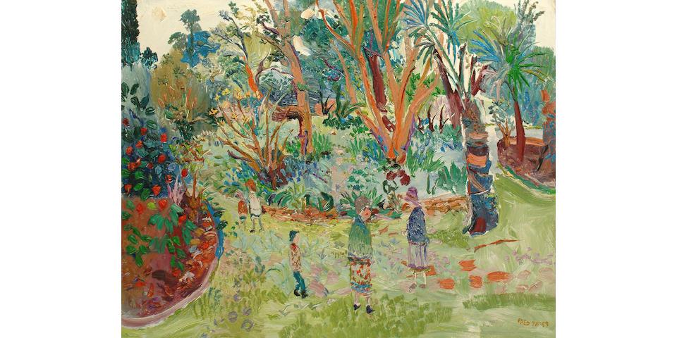 Fred Yates (British, b.1922) Figures in a garden
