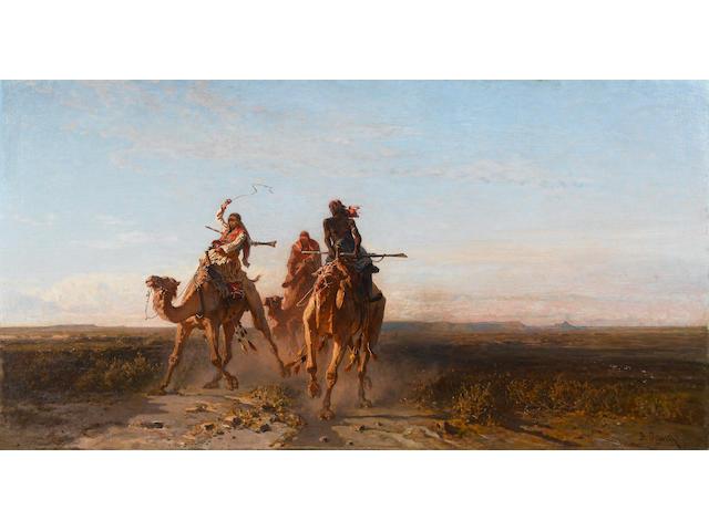 Alberto Pasini (Italian, 1826-1899) The camel race 81.3 x 153.7 cm. (32 x 60½ in.)