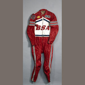 A two piece set of race used racing leathers, Daytona 1971,