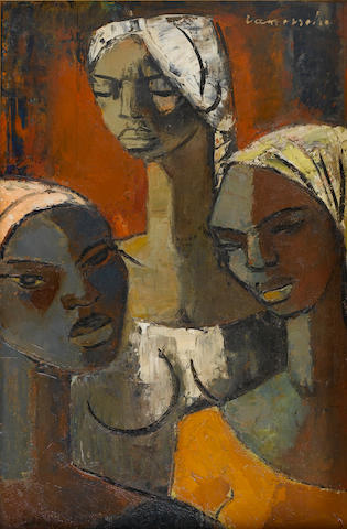 (n/a) Pranas Domsaitis (South African, 1880-1965) The three young girls 59.7 x 39.3 cm. (23½ x 15½ in.)