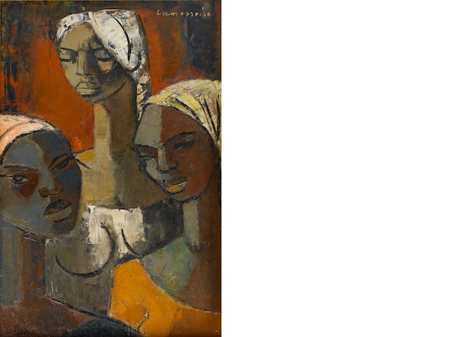 Pranas Domsaitis (South African, 1880-1965) The three young girls 59.7 x 39.3 cm. (23½ x 15½ in.)