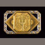 A fine gold and enamel automaton snuff box, the movement attributed to Piguet & Meylan, the case wit
