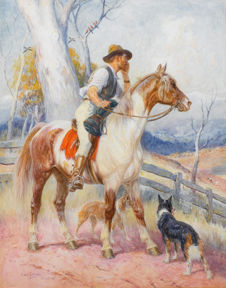 Percy Frederick Seaton Spence (Australian, 1868-1933) Coo-ee; The Pioneer, a pair 23.5 x 50.8 cm. (25 x 20 in.); 61 x 48.3 cm. (24 x 19 in.)(2)